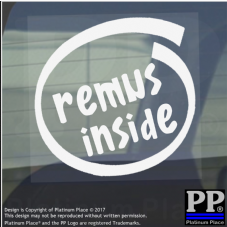 1 x Remus Inside-Window,Car,Van,Sticker,Sign,Vehicle,Adhesive,Exhaust,Cobra,Loud
